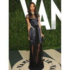 Zoe Saldana Sheer And Sexy Discount Evening Dress 2012 Vanity Fair Oscar Party