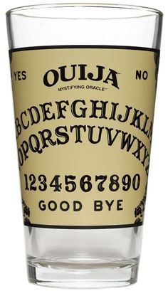 OUIJA BOARD PINT GLASS Toast to those that we have lost and have not found their way! Maybe you can even conjure them up while using this pint glass that features a ouija board. $8.00 #housewares #glass #ouija
