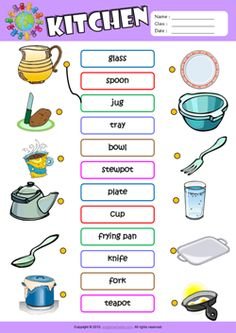 Kitchen ESL Matching Exercise Worksheet For Kids
