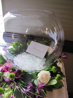 This fish bowl makes a great alternative to a card box. Madison Wisconsin Weddings.