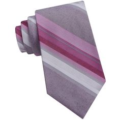 Calvin Klein Striped Silk-Blend Tie ($65) ❤ liked on Polyvore featuring men's fashion, men's accessories, men's neckwear, ties and rose