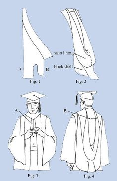 DIY Graduation Reglia Gown and Phd Hood: Hood Construction drafting the pattern and making the muslim Graduation Hood, Graduation Regalia, Graduation Attire, Graduation Stole, Graduation Diy, Doctoral Gown, Doctoral Regalia, Hood Pattern Sewing, Sewing Patterns Free