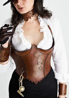 #steampunk brown leather body armor corset ~ by zahirasboudoir