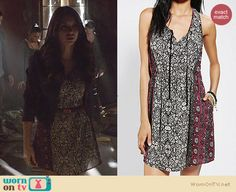 Elena's mixed floral print dress on The Vampire Diaries. Outfit Details: http://wornontv.net/26193 #TheVampireDiaries #fashion #TVD