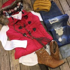 """#NEWARRIVALS  #PufferVest w/ #Flannel #Detail $39.99 S-L #ZSupply #Longsleeve #Top $28.99 XS-M #Distressed #Boyfriends $49.99 27-31 #FreePeople #Booties $198 6, 6.5, 7.5, 8.5 #PinkPanache #Necklace $56.99  #Beanie $12.99 We #ship! Call to order! 903.322.4316 #shopdcs #goshopdcs #shoplocal #love"" Photo taken by @daviscountrystore on Instagram, pinned via the InstaPin iOS App! http://www.instapinapp.com (12/07/2015)"