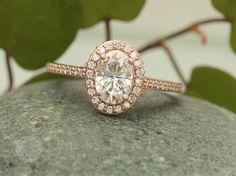 Moissanite Rose Gold Engagement Ring in Diamond Halo Diamond Alternative Wedding Ring Anniversary Ring