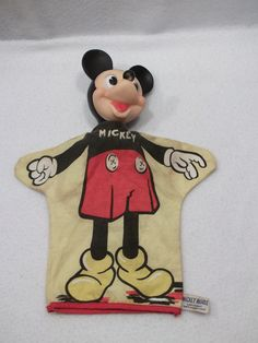 Vintage Disney Mickey Mouse hand puppet by Gund Glove Puppets, Sock Puppets, Hand Puppets, Disney World Characters, Cartoon Characters, Vintage Disney Posters, Mickey And Friends, Mickey Minnie Mouse, Classic Toys