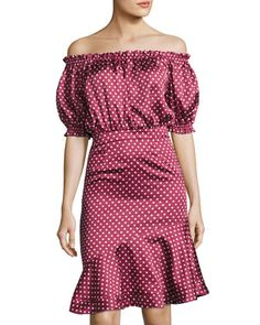 Retro Wave Off-the-Shoulder Dress, Red by FEW MODA at Neiman Marcus Last Call.