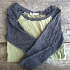 Forever 21 3/4 baseball tee. Size XS. Green/Grey forever 21 baseball tee. Size XS. Has some wear to it. Image shows the wear. No other problems. Make an offer and I'll try my best to work with you to get your poshmark find  no trades please Forever 21 Tops