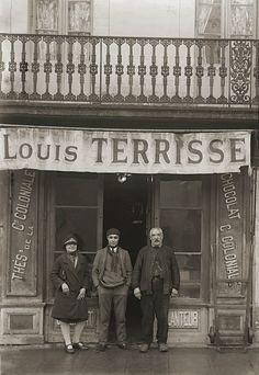 Photo ancien commerce Toulouse Thé & Chocolat Cie Coloniale Terrisse repro 1920