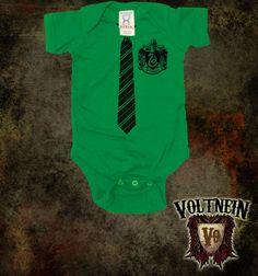 Slytherin Tie And Crest Baby Onesie
