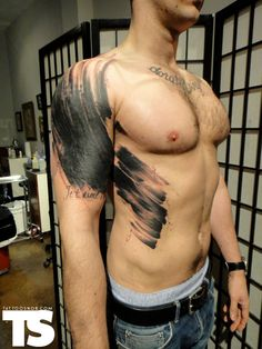 Large brush stroke tattoo by Xoil