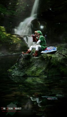 Adult Link playing the ocarina with Navi the fairy - The Legend of Zelda: Ocarina of Time; The Zelda Project cosplay! Ok now this one is better than the last one OwO