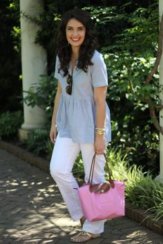 blogger hosted giveaway, anthropologie, anthropologie top, blue and white top, memorial day outfit inspiration, spring outfit, gold accessories, irresistible me hair extensions, longchamp tote, pink purse, botanical gardens, white pants outfit