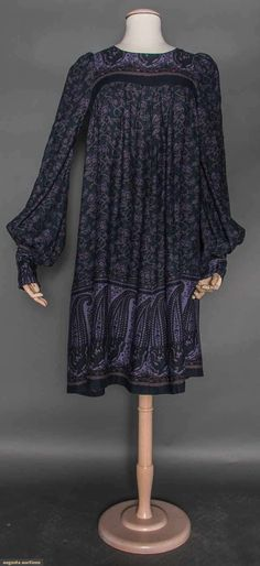 Biba Challis Dress, London, 1965-1968 Vintage 60's designer fashion clothing