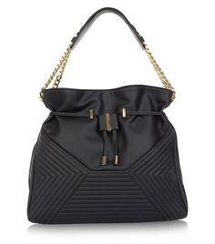 Black Chevron Quilted Shoulder Bag