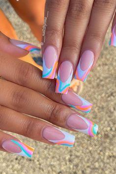Nail Designs Bling, Coffin Nails Designs Summer, Coffin Shape Nails, Summer Acrylic Nails, Pink Coffin, Summer Nails, Short Square Acrylic Nails, Clear Acrylic Nails, Simple Acrylic Nails