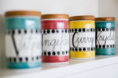 Spice jars by Marianne Westman, photo hildagrahnat