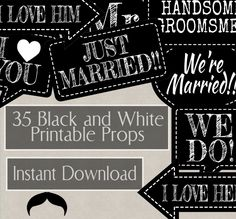 35 Black and White Wedding Props, Just married props, photo booth props black and white, small printable props, wedding decor ideas by YouGrewPrintables on Etsy