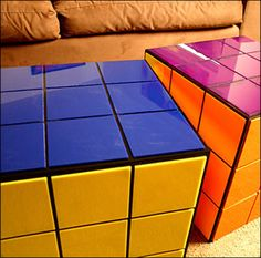 Geeky home decor!!! Coffee tables! - for when you want to play with your rubics cube but also wanna get a bit of a workout, twisting one of them is gonna take some mussel!