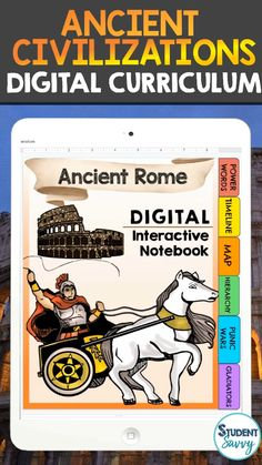 Ancient Civilizations Complete Curriculum (PRINT & DIGITAL) This complete curriculum resource has over 1000+ pages/slides of material covering The Stone Age | Early Humans | Archaeology, Ancient Mesopotamia, Ancient Egypt, Israel, Ancient India, Ancient China, Ancient Greece, and Ancient Rome. This resource contains 48 individual units/products! There are 8 units in each of the 6 bundles. + Bonus Resource - Ancient Civilizations Lapbook Project, Pacing Guide, and Curriculum Binders!! Ancient China, Ancient Rome, Ancient Greece, Ancient History, 6th Grade Social Studies, Teaching Social Studies, History Teachers, Teaching History, Ancient Mesopotamia