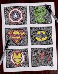 Zentangle SUPER by ZenspireDesigns on Etsy Marvel Drawings, Disney Drawings, Cool Drawings, Flower Drawings, Mandala Art, Mandala Drawing, Dibujos Zentangle Art, Kalender Design, Sharpie Art
