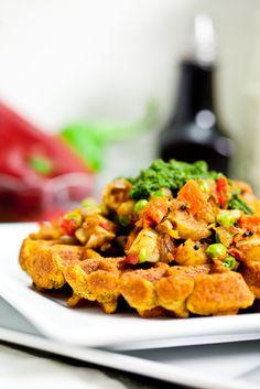 Chana Masala Waffles with Samosa Potatoes and Cilantro Mint Chutney - Keepin' It KindKeepin' It Kind