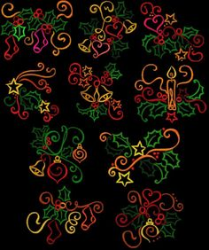 Love This : Christmas Color Work Commercial Embroidery Machine, Machine Embroidery Designs, Line Design, All Design, Christmas Colors, Christmas Stuff, Christmas Ideas, Linen Bed Sheets, Christmas Embroidery Patterns