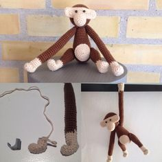 Hæklet Kay Bojesen abe. Istedet for ståltråd i arme og ben har jeg brugt kabelklips