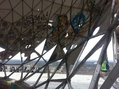 A view from inside the abandoned former US spy station, on top of the Teufelsberg which is located West of Berlin.