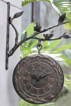 Hanging Wall Clock and Thermometer - Outdoor Clocks - Outdoor Thermometer - Outdoor Thermometer And Clock | HomeDecorators.com
