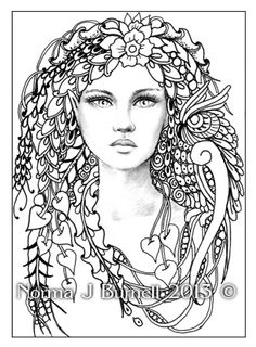 norma j burnell free coloring pages   ... Tangle Art PRINT to COLOR Fairies Owl Norma Burnell COLOR YOURSELF