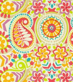 Waverly Home Decor Print Fabric Paisley Prism Sorbet