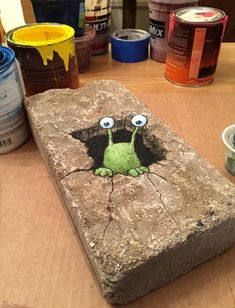 David Zinn: Sluggo awoke to unaccustomed surroundings, and feeling recently brushed.
