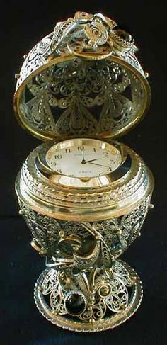 Faberge Style Egg with Clock