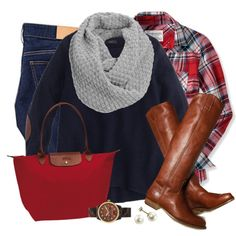 A fashion look from November 2014 featuring j crew top, plaid top and h&m skinny jeans. Browse and shop related looks.