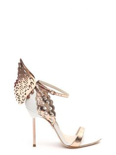 White leather sandal with rose gold Angel Wing detail and ankle strap from Sophia Webster. Heel height: 100mmComposition: 60% Calf Leather 40% Metallic Calf…