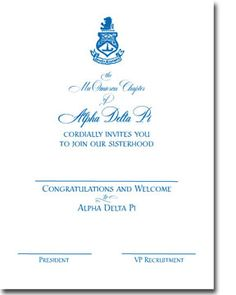 classy alpha delta pi bid day invites from Truly Sisters