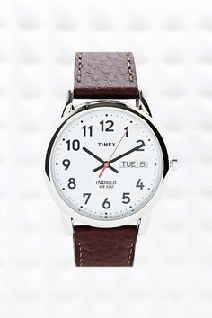 Timex Brown Leather Strap Watch - Urban Outfitters
