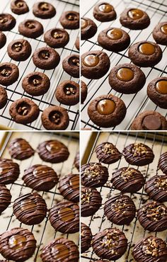 Dark Chocolate Salted Caramel Turtle Thumbprint Cookies - that's a mouthful! Chocolate Thumbprint Cookies, Salted Caramel Cookies, Thumbprint Cookies Recipe, Salted Caramel Chocolate, Xmas Cookies, Chocolate Caramels, Yummy Cookies, Chocolate Cookies, Salted Caramels