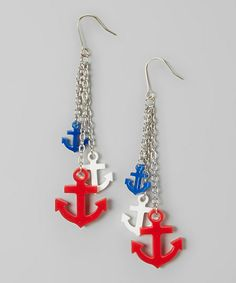 Red & Blue Anchor Drop Earrings