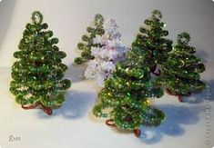 Christmas trees of sequins and beads... make these beaded trees for pennies instead of buying the bottlebrush types.