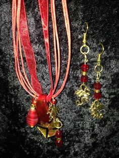 Red Dragon Necklace and Earring Set by CraftyOlBats on Etsy