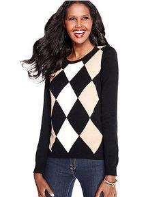 Charter Club Sweater, Long-Sleeve Argyle Cashmere Crew-Neck - Sweaters - Women - Macy's