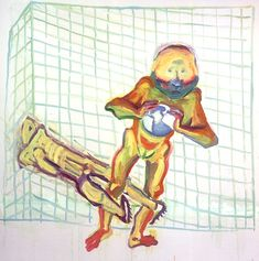 """Im Netz"" by Maria Lassnig Berlin, Living In New York, International Artist, Contemporary Paintings, Oil On Canvas, Gallery, Artists, Fictional Characters, Painters"