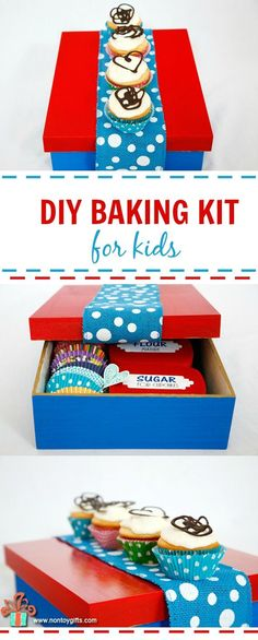 DIY Baking Kit for Kids - The kit provides tools and ingredients for simple cupcakes with frosting. #kids #bake #diy #cupcakes