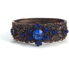 Czech Bracelet Filigree Antique Blue Glass Cuff ($148) ❤ liked on Polyvore featuring jewelry, bracelets, vintage cuff bracelet, filigree cuff bracelet, bangle cuff bracelet, vintage jewelry and vintage bangles
