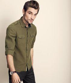 Camisa verde militar con azul Ropa De Color Verde 3c3655269388