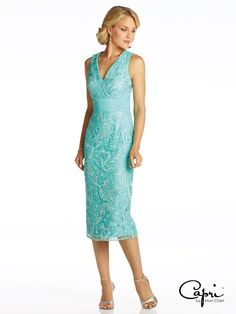 Capri by Mon Cheri - CP11621 - Two-piece lace and chiffon dress set, sleeveless knee-length lace sheath with V-neckline, ruched chiffon natural waistband, center back slit, matching three-quarter sleeve jacket with beaded trim included.  Sizes: 4 - 20, 16W - 26W  Colors: Dark Aqua, Navy Blue, Ivory