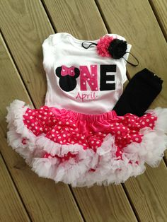 Hot pink and black minnie mouse birthday outfit  1st by CEBowtique